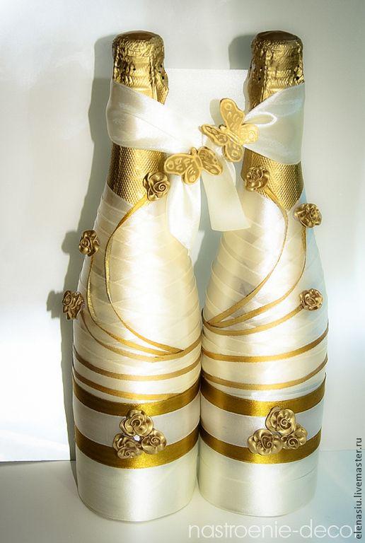 Купить Свадебное шампанское Золотые цветы - золотой, золотая свадьба, золотой декор, золотое оформление