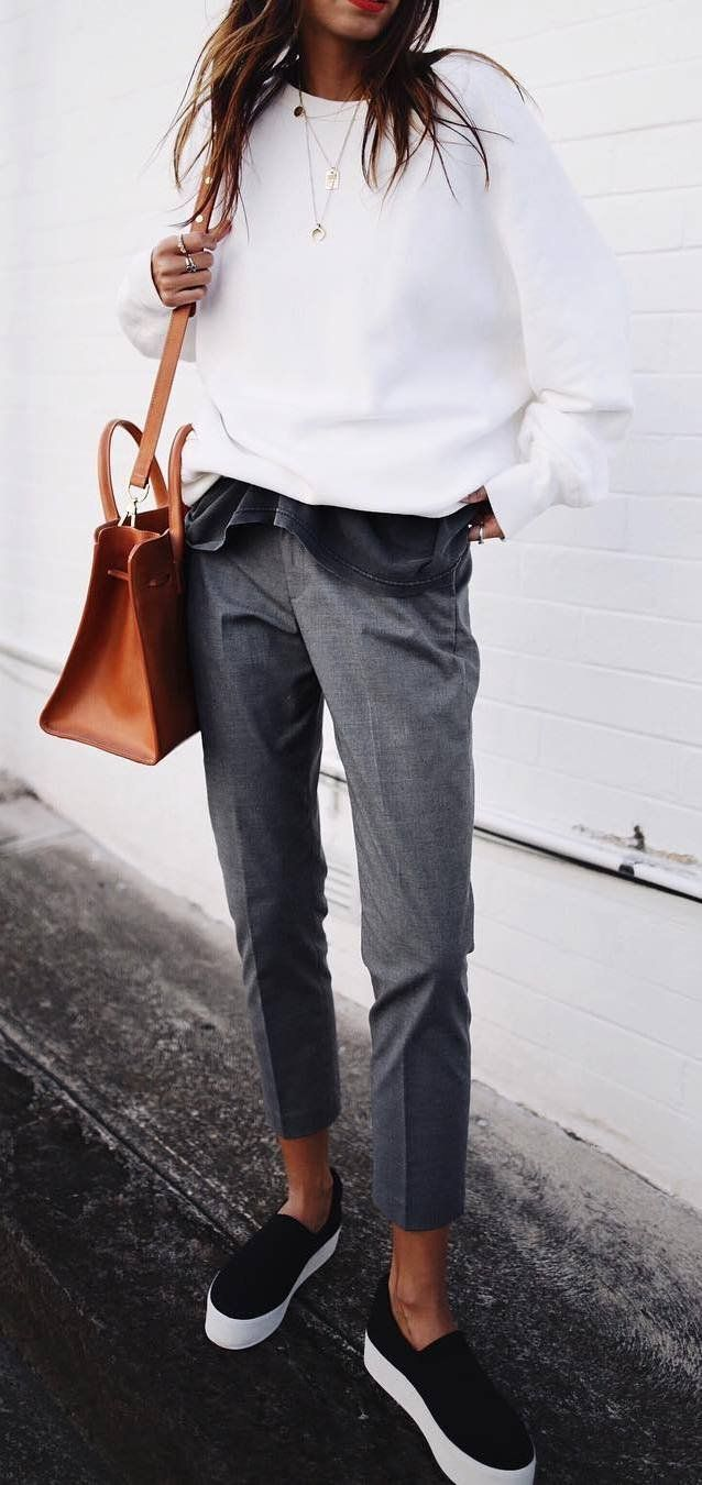casual outfit inspiration / white sweatshirt + bag + gray pants + sneakers, #grey #inspiration #class #outfit #sweatshir
