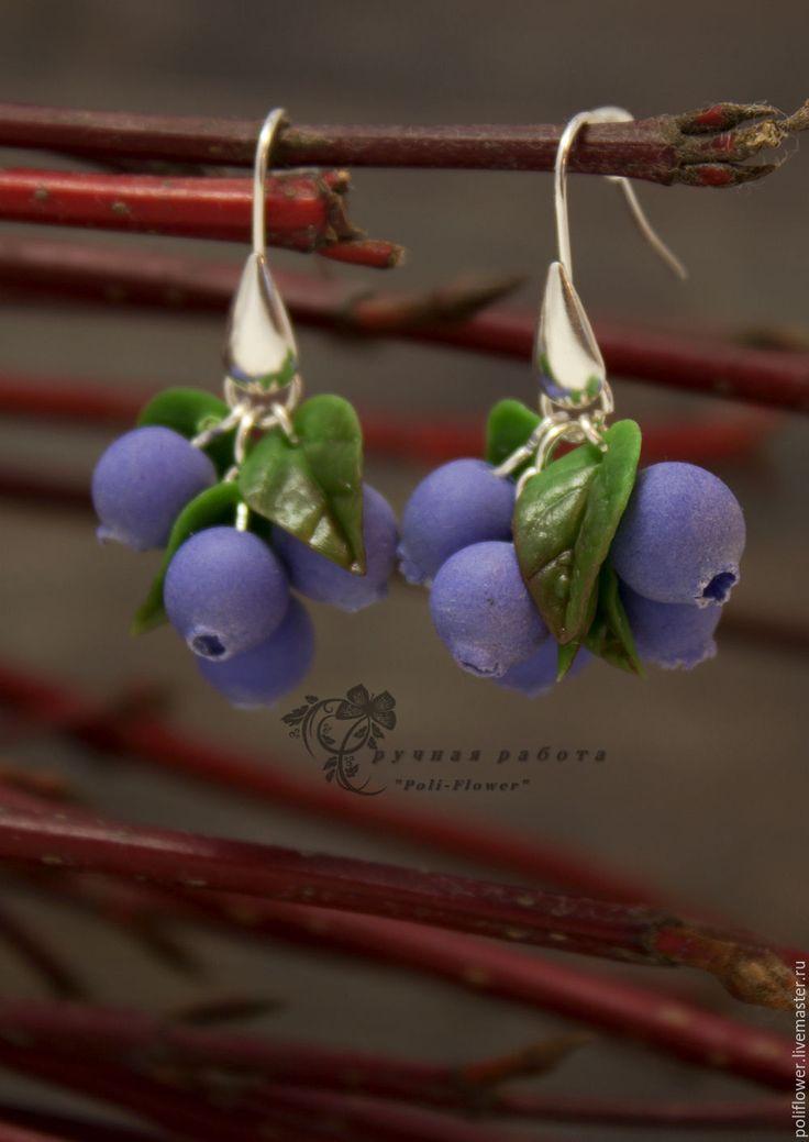 """Купить Серьги с черникой """"Mangiare"""". Флористическая глина. - синий, зеленый, черника, ягода"""