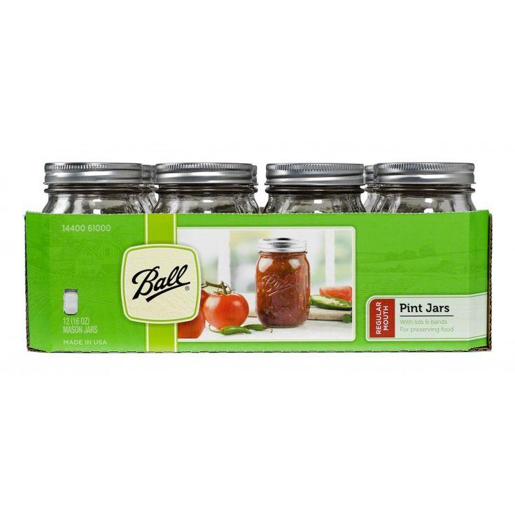 Pint (440ml) Regular Mouth Jars and Lids BPA Free x 12