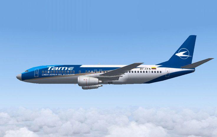 Tame Ecuador Airlines Boeing 737-400 in flight.