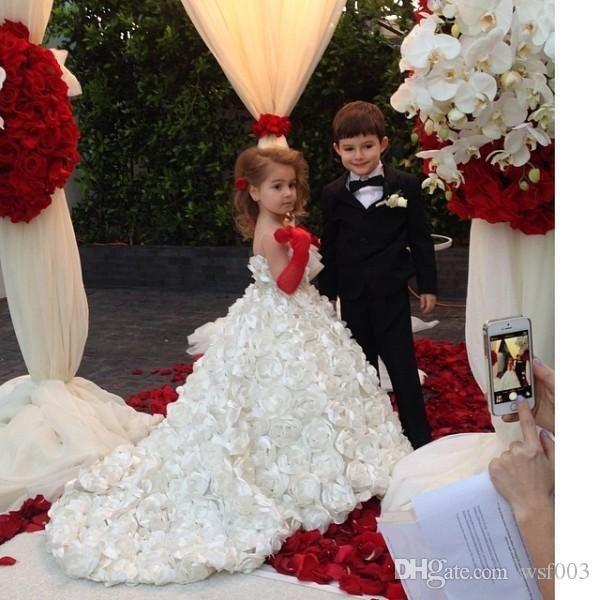 Flower Girl Dresses With Petals Hot 2015 Long Spaghetti Girls Weddings Purple Tulle Hand