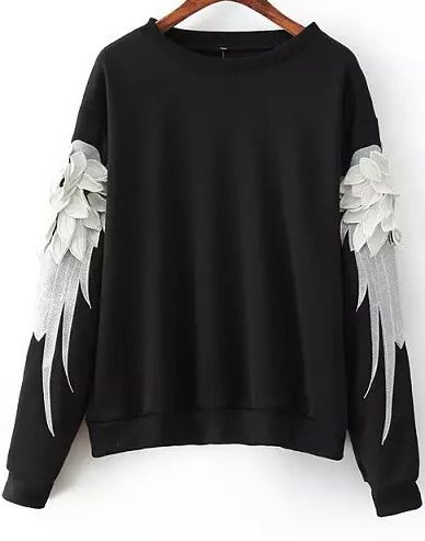 Shop Black Long Sleeve Feathers Embroidered Sweatshirt online. Sheinside offers Black Long Sleeve Feathers Embroidered Sweatshirt & more to fit your fashionable needs. Free Shipping Worldwide!