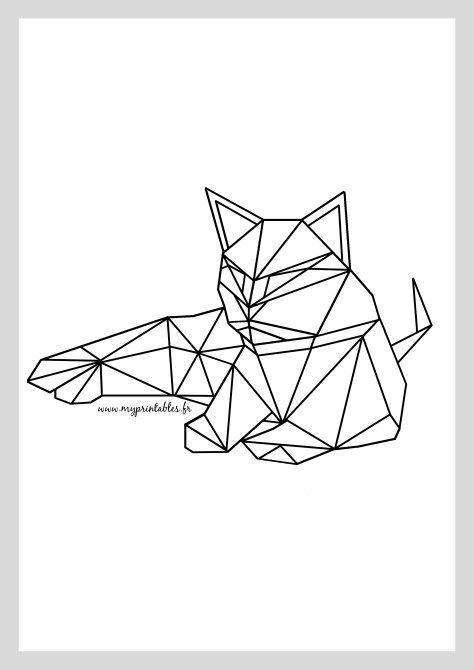 Free Printable - Geometric Cat www.myprintables.fr