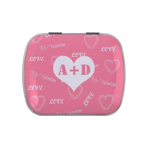 Add his and hers initials Valentine's Day hearts Candy Tin