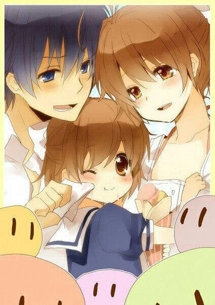 Tomoya, Nagisa, Ushio, Okazaki family, dango, cute; Clannad
