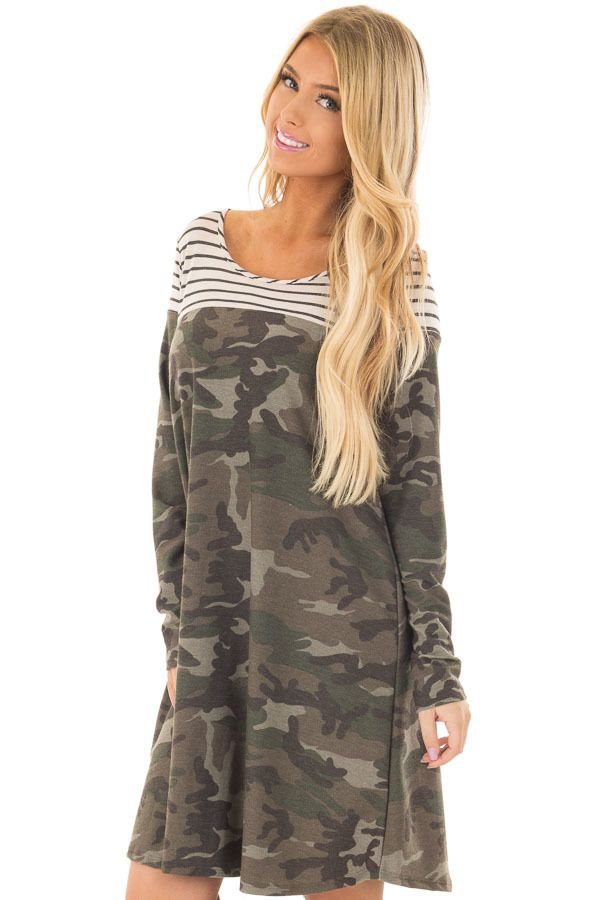 Lime Lush Boutique - Olive Camo Dress with Charcoal Striped Color Block, $42.99 (https://www.limelush.com/olive-camo-dress-with-charcoal-striped-color-block/)