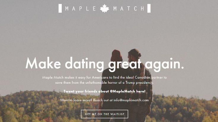 A new dating website called Maple Match is a hilarious dating app born out of this presidential election