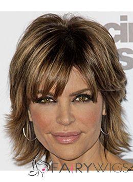 Glossary Lisa Rinna Hairstyle Short Wavy Capless Human Wigs