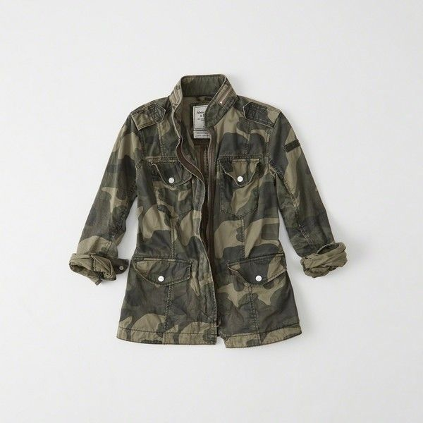 Abercrombie & Fitch Military Twill Shirt Jacket ($120) ❤ liked on Polyvore featuring outerwear, jackets, camo, camoflage jacket, military camouflage jacket, camouflage jacket, military jackets and twill jacket