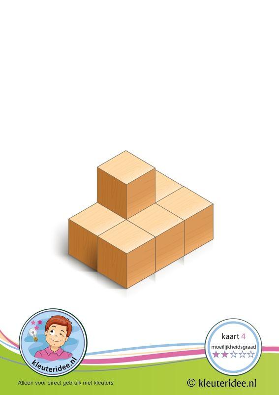 Bouwkaart 4 moeilijkheidsgraad 2 voor kleuters, kleuteridee, Preschool card building blocks with toddlers 4, difficulty 2.