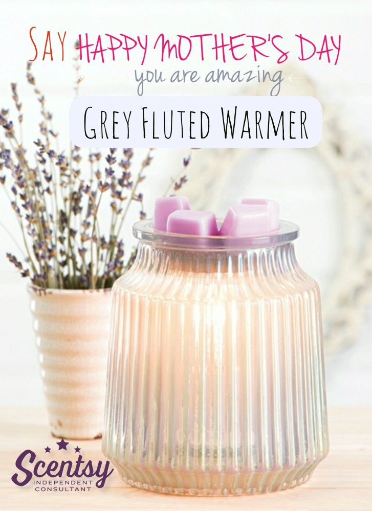 Surprise your mother with the all new Grey Fluted Scentsy Warmer this Mothers Day. Available March 1 in the new Spring Summer Scentsy catalog. #MothersDay #2018 #Scentsy #ScentsyWarmer #GreyFlutedScentsyWarmer