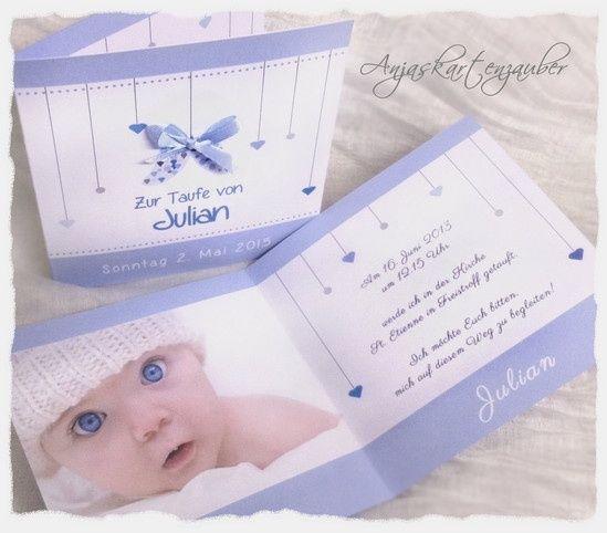 7 best einladungen taufe images on pinterest | baby cards, blue, Einladung