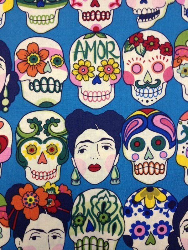 Frida sugar skull fabric
