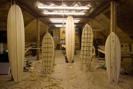 Hollow surfboards under construction.