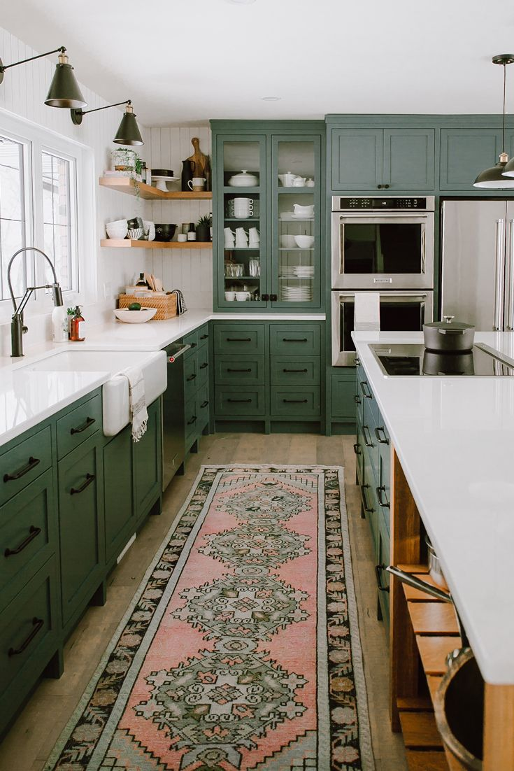 Refine Define 7 Gorgeous Green Kitchens Green Kitchen Cabinets Kitchen Design Kitchen Interior