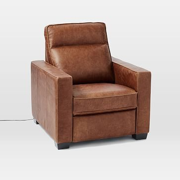 Henry(R) Leather Power Recliner Chair - Tobacco