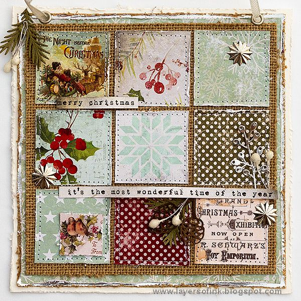 Layers of ink - Christmas Patchwork Wall-hanger by Anna-Karin