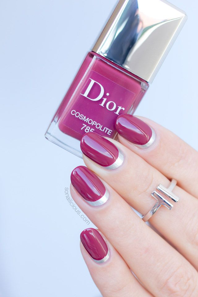 Reverse French manicure with Dior Cosmopolite: http://sonailicious.com/ruffian-manicure-8-more-nail-art-ideas-with-dior-cosmopolite/