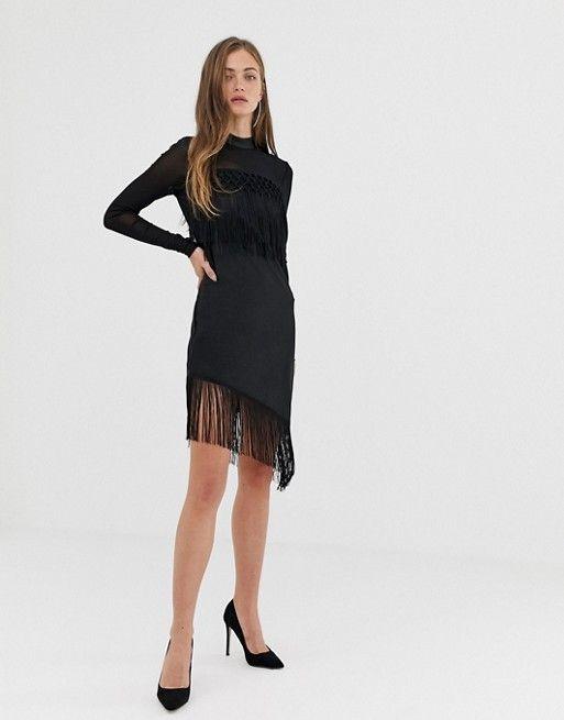421871a88cc Y.A.S fringe mini dress in black