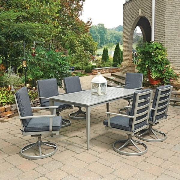 South Beach 7 Pc Rectangular Outdoor Dining Table 6 Swivel Rocking Chairs By Home Styles
