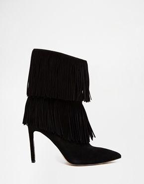 Sam Edelman - Belinda - Stivali con tacco nero scamosciato con nappe