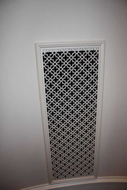 upgrade AC/heating vents w/ metal screening or wood patterned screening from Pattern Cut  ==  Secrets of Segreto - Segreto Secrets Blog - It's all in theDetails