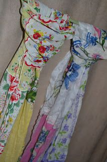 Scarves from vintage hankies!! I love this so much.  http://imsewinlove.blogspot.com/2011/11/hanky-scarves.html