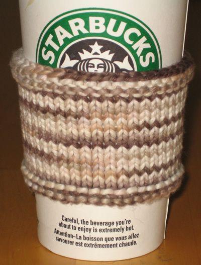 Organic Cotton Coffee Sleeve - Free knitting pattern
