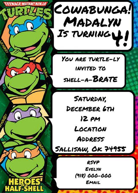 Teenage Mutant Ninja Turtles Invitation Tmnt Tmnt Party Ninja