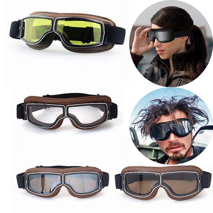 Goggles Coffee Frame Eyewear Aviator Pilot Vintage ATV Dirt Bikes Motorcycle PA