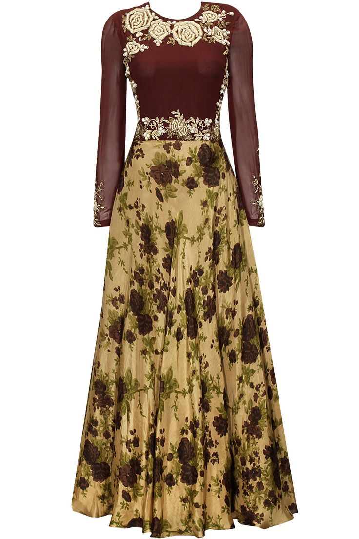 Earthy gold and maroon square embroidered anarkali set available only at Pernia's Pop-Up Shop.