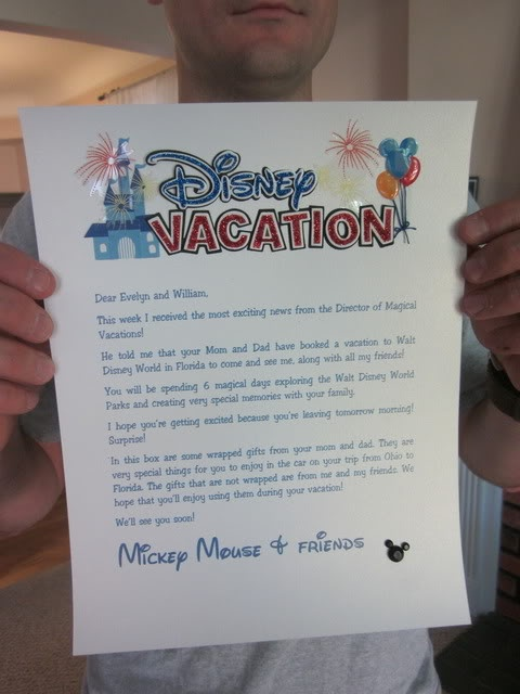 "The letter from Mickey that was inside the reveal box (a large package that was ""mailed"" from Mickey). Linked to their (absolutely awesome) reveal video."