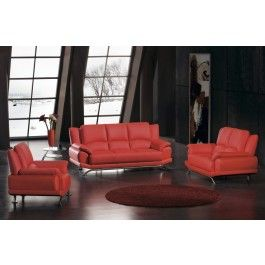 2818 - Bonded Contemporary Red Leather Sofa Set - 1050.0000