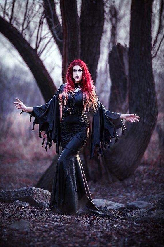 slashed dress Morticia Addams black gothic latex wet look