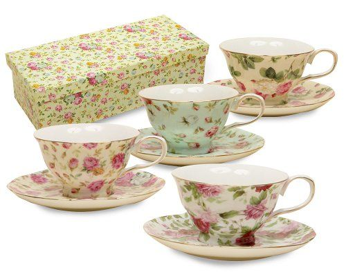 Gracie China Rose Chintz 8-Ounce Porcelain Tea Cup and Saucer, Assorted colors, Set of 4 | shopswell