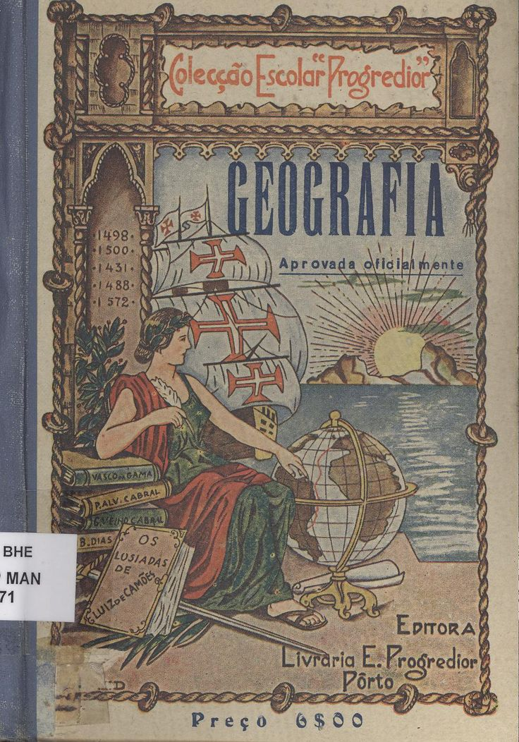 Geografia: for 3th & 4th grades. 19th edition. Bookstore school Progredior, 1942. General Secretariat of the Ministry of Education, Portugal. The top book in the pile is about Vasco da Gama (1460-1524) who was a Portuguese explorer who discovered an ocean route from Portugal to the East. Da Gama sailed from Lisbon, on July 8, 1497. Many people thought that da Gama's trip would be impossible because it was assumed that the Indian Ocean was not connected to any other seas.