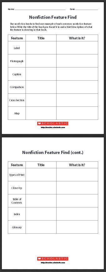 FREE PRINTABLES Nonfiction Feature Find~ Students use nonfiction books to find one example of each common nonfiction feature listed on these worksheets.  Students write the title of the book in which they found the feature, and a brief description of what the feature is showing in that book.