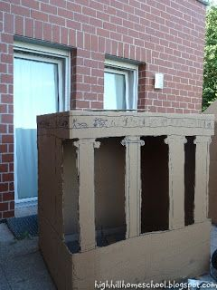 Week 8: We built Greek Temples using large cardboard boxes.   The temples of the ancient Greeks were somewhat similar to Churches in our cul...