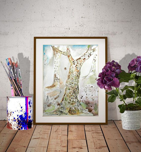 Tree Watercolor Origina Aquarelle Painting Tree Wall Art Nature