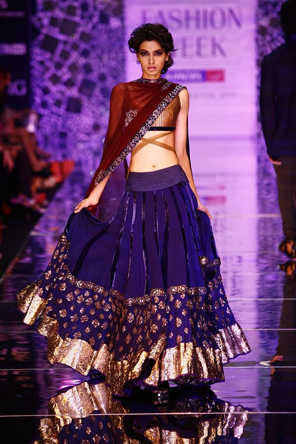 A royal blue lehenga displayed at the 2014 LFW event. Source: vogue.in