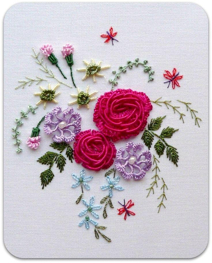 """** """"American Beauty Rose""""  Brazilian Dimensional Embroidery Pattern @RosalieWakefield-Millefiori"""