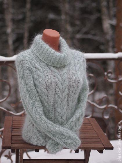 свитер нежно-мятный - мятный,женский свитер,свитер женский,шерсть,мохер