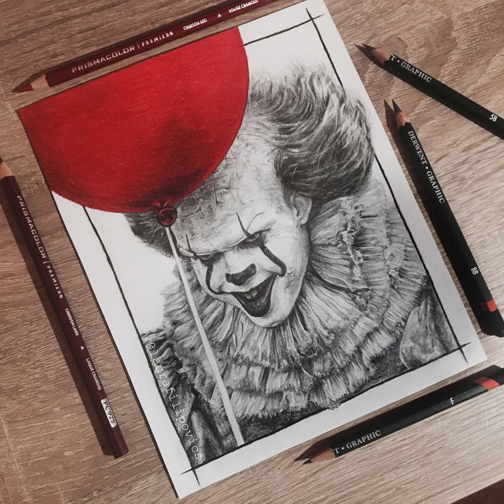 Graphite/colored pencil drawing of Pennywise the dancing clown (Bill Skarsgard) from IT