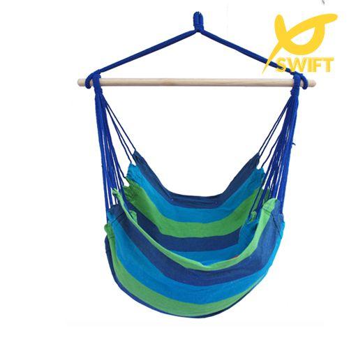SWift Marca color Azul tela de La Raya Cama Columpio Hamaca Al Aire Libre Cuerda Colgando Silla Mecedora Hamaca Silla
