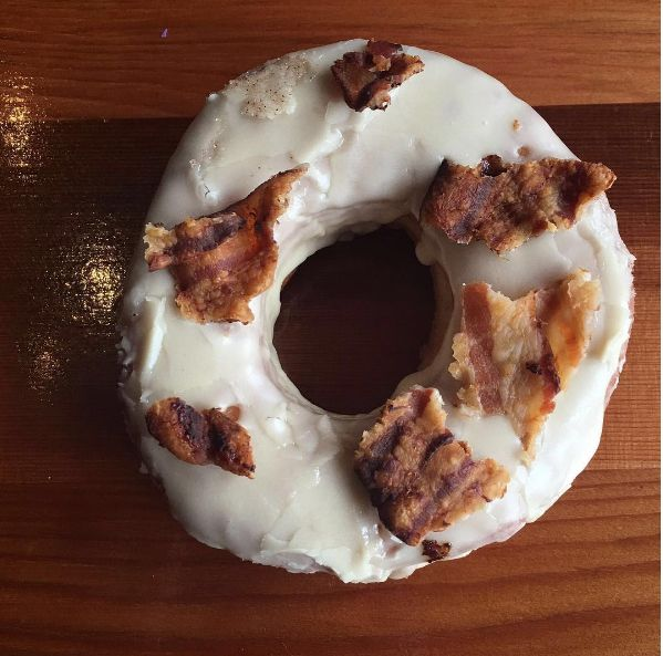 Chefs breakfast bacon doughnut eaten by Food Busker chef on his tour of Canada #ExploreCanada