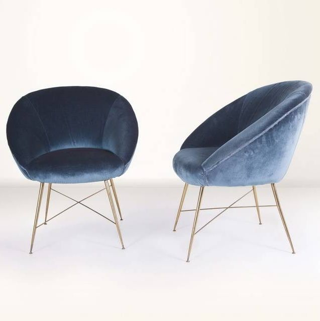 Silvio Cavatorta Pair Of Armchairs. Blue Velvet ChairsBlue ChairsLounge ...