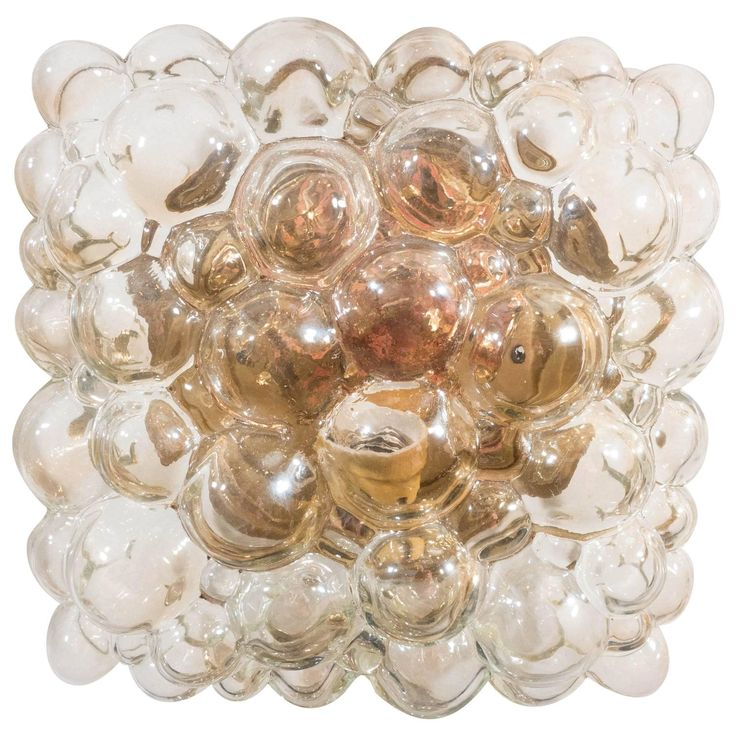 1960s Square Bubble Glass Wall Sconce by Helena Tynell for Glashütte Limburg | From a unique collection of antique and modern wall lights and sconces at https://www.1stdibs.com/furniture/lighting/sconces-wall-lights/