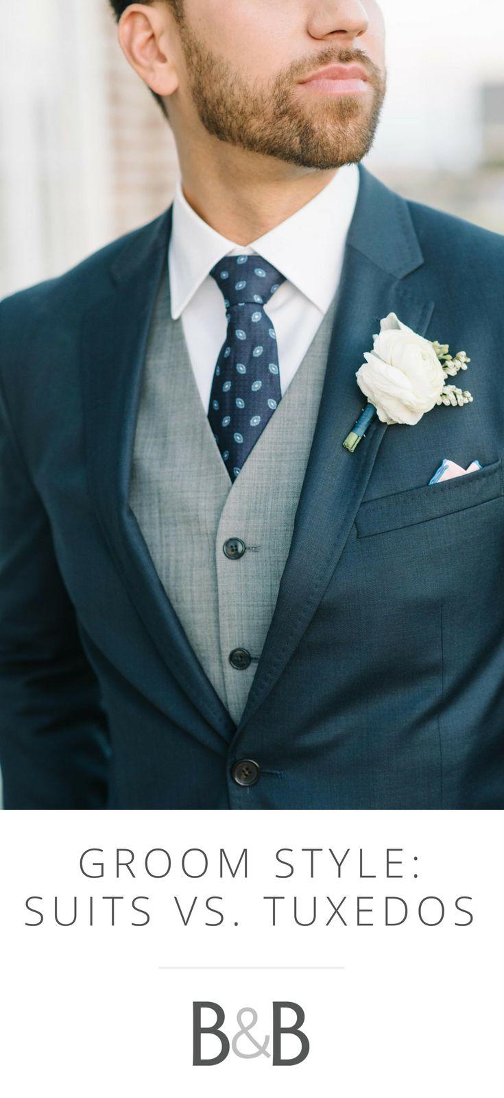 Groom fashion, tuxedo vs suit, tux, groomsmen style, wedding outfits // Aaron and Jillian Photography