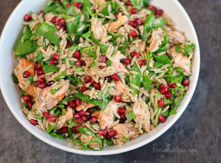 Healthy Week: Lunches 7 {Orzo Power Salad with Salmon, Walnuts, and Greens}